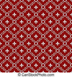 White and Red Fleur-De-Lis Pattern Textured Fabric...
