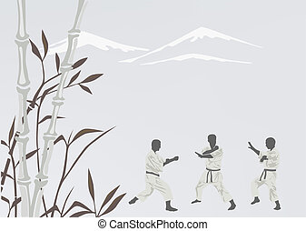Three men are engaged in karate