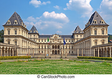 Facade of Valentino Castle in Turin, Italy - Valentino...