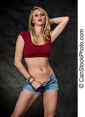 Caucasian blond woman in sexy fashion