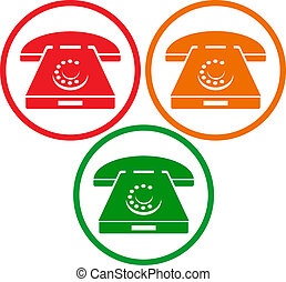 old phone icons  - vector old phone icons