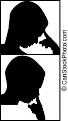 boy thinking and boy picks his nose vector illustration