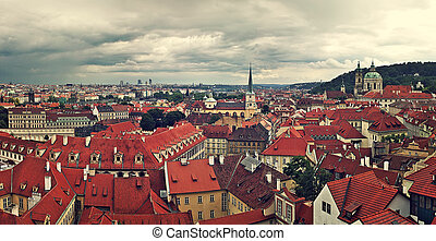 Panorama of rooftops in Prague - Panoramic view of typical...