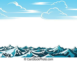 Retro ocean landscape - Artistic retro clouds and ocean...