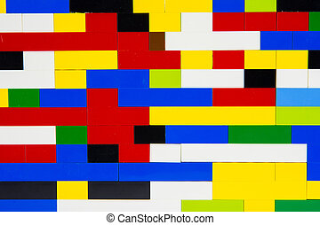 colored wall - A wall of multicolored plastic blocks