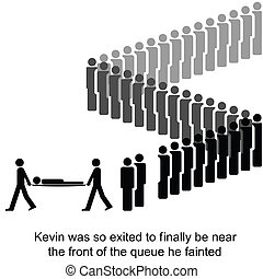 The Queue - Kevin is taken away be paramedics cartoon...