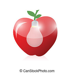apple and light bulb illustration design over a white...