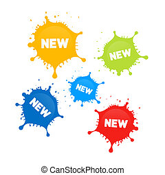 Colorful Vector Stains, Splashes With New Title Isolated on...