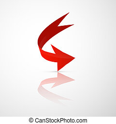 Red Vector 3d Arrow - Red Vector Arrow Isolated on White...
