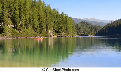 Canoes on the lake - Amazing landscape with kayak at lake...