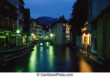 Annecy city by night, Savoy, France - Old medieval city of...