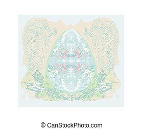 Easter Egg On floral pastel Background