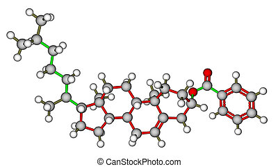 Cholesteryl benzoate, a liquid crystal molecule isolated on...