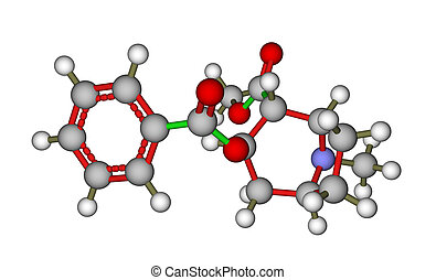 Molecule of cocaine - Optimized molecular structure of...