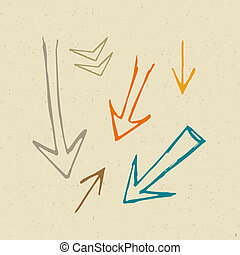 Hand Drawn Arrows on Recycled Paper Background