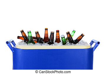 Ice Chest Full of Beer Bottles - Closeup of an ice chest...
