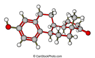 Sex hormone estrone molecule - Optimized molecular structure...