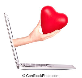 hand with a heart - gift and laptop - hand with a heart -...