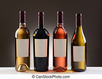 Wine Bottles With Blank Labels - Four Wine Bottles with...