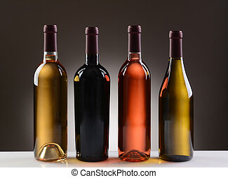 Wine Bottles With No Labels - Four Wine Bottles with no...