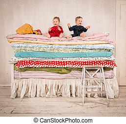 crianças, cama, -, princesa, ervilha