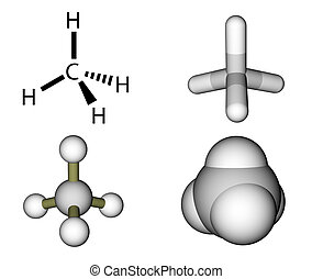 Methane structural formula and molecular models isolated on...