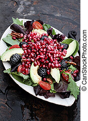 Pomegranate, Avocado and Blackberrry Salad - A healthy salad...