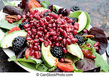 Fresh Pomegranate and Avocado Salad - A healthy salad with...
