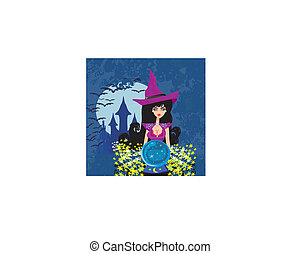 beautiful witch with crystal ball