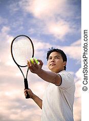 Asian tennis player - A shot of an asian tennis player