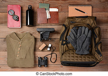 Backpacking Trip - Overhead view of gear laid out for a...