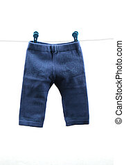 Baby pants - Pair of blue baby\'s pants hanging on a clothes...