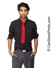 Portrait of a trendy young man in black shirt and tie...