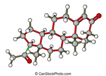 Sex hormone progesterone - Calculated molecular structure of...