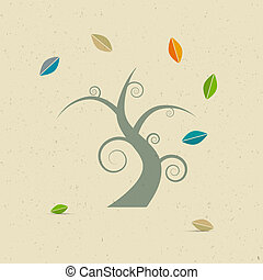 Abstract Vector Tree on Recycled Paper Background