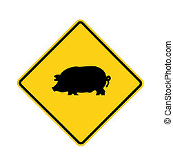 road sign - pig crossing, black on yellow