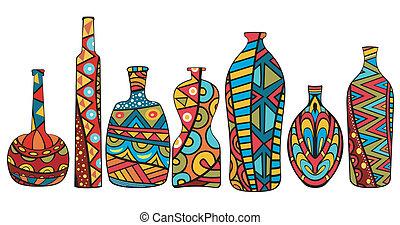 Fancy Bottles - Set of fancy multicolored bottles with...