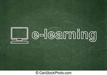 Education concept: Computer Pc and E-learning on chalkboard...