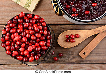 Making Cranberry Sauce for Thanksgiving - Overhead of a...