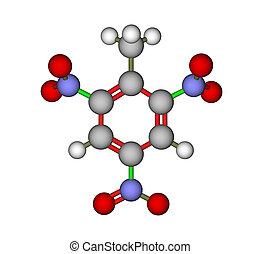 Trinitrotoluene (TNT) - Calculated and optimized molecular...
