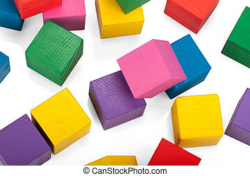Wooden blocks, stack of colorful cubes, childrens toy...