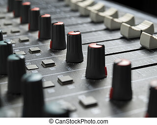 mixing desk - Sound mixer closeup, for music and sound ,...