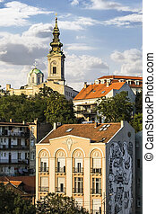 Old part of Belgrade downtown, Republic of Serbia, with...