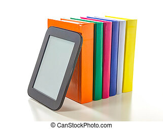 Electronic book reader with hard cover books - Electronic...
