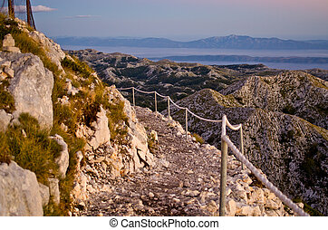 Stony road on the sv Jure mountain, Croatia - Stony road on...