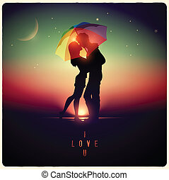 couple kissing with vintage effect - Vector illustration of...