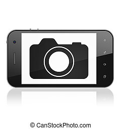 Travel concept: Photo Camera on smartphone - Travel concept:...
