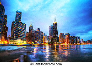 Downtown Chicago, IL at sunset - CHICAGO - MAY 18: Downtown...