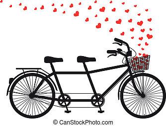 tándem, bicicleta, rojo, Corazones