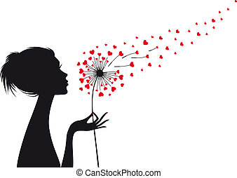 woman with heart dandelion, vector - woman holding dandelion...